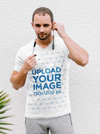 V-Neck T-Shirt Mockup of a Bearded Man m1783-r-el2