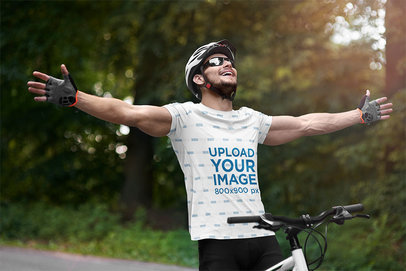 Sublimated T-Shirt Mockup of a Joyful Man Riding a Mountain Bike m1632-r-el2