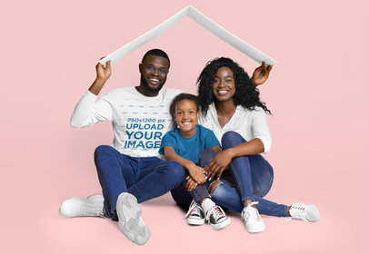 Long Sleeve Tee Mockup of a Man with Posing with His Family in a Studio m2105-r-el2