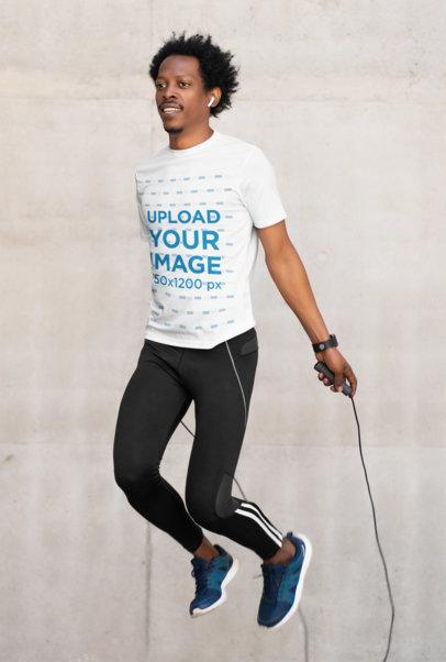 Activewear Mockup of a Man Wearing a T-Shirt While Jumping m2171-r-el2
