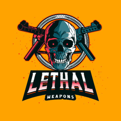 Gaming Logo Creator Featuring a Graphic with a Skull and Weapons 4095f