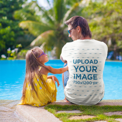 Back-View T-Shirt Mockup of a Man Sitting by a Pool with His Daughter M2188-r-el2