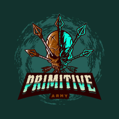 Gaming Logo Generator Featuring a Primitive Skull with Arrows 4095d