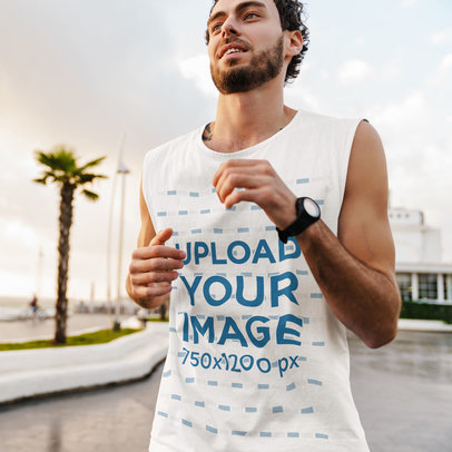 Sleeveless Shirt Mockup Featuring a Man Jogging at a Boulevard M2345-r-el2