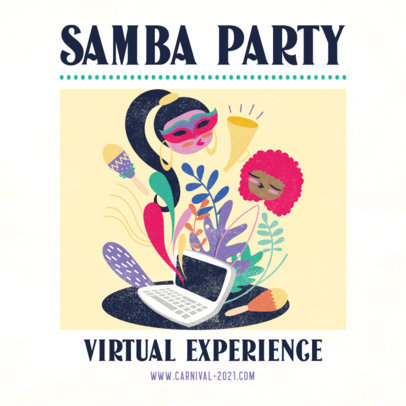 Carnival-Themed Instagram Post Generator for a Virtual Samba Party 3431c