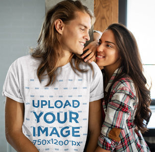 Heather T-Shirt Mockup of a Long-Haired Man With His Girlfriend m2205