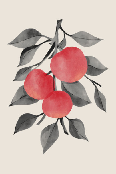 Art Print Design Generator Featuring a Fruit Tree Branch Illustration 3423h