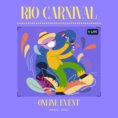 Instagram Post Generator for a Rio Carnival Virtual Event 3431f