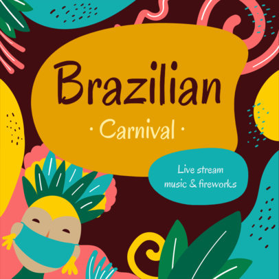 Facebook Post Maker to Promote a Brazilian Carnival Live Stream 3427a