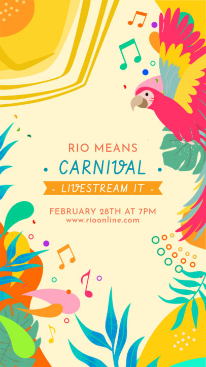 Instagram Story Maker to Announce a Brazilian Carnival Live Stream 3429b