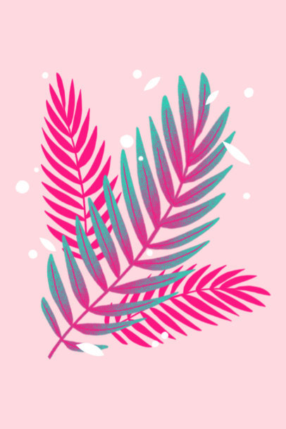 Illustrated Art Print Design Maker Featuring Palm Leaves 3424c