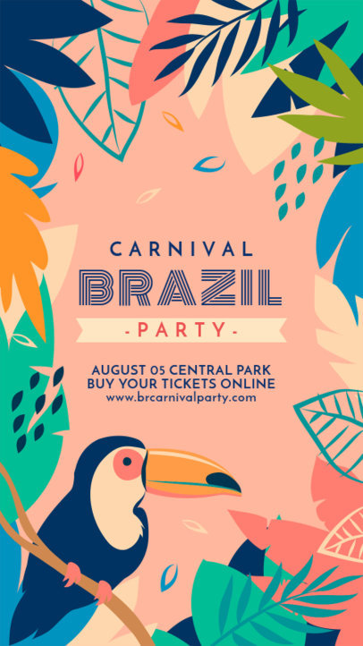 Instagram Story Design Creator to Announce a Brazilian Carnival Party 3429a