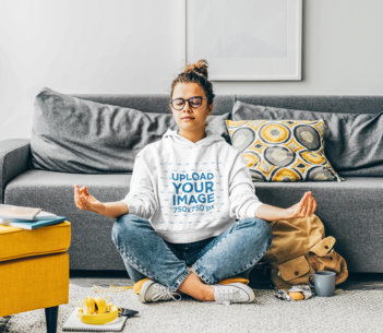 Pullover Hoodie Mockup of a Woman Meditating at Her Living Room M1998r-el2