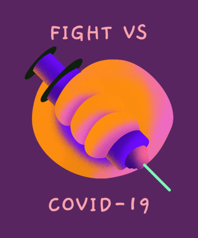 COVID-19 Themed T-Shirt Design Generator Featuring an Illustrated Vaccine Needle  3435c