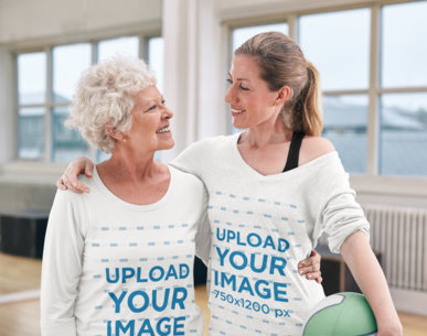 Long Sleeve Tee Mockup of a Woman and Her Mother Playing Volleyball Together 45579-r-el2