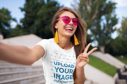 T-Shirt Mockup of a Woman with Trendy Sunglasses Taking a Selfie m2424-r-el2
