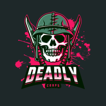 Gaming Guild Logo Maker with a Soldier's Skull Graphic 4095k