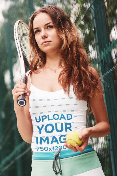 Tank Top Mockup Featuring a Female Tennis Player m2343-r-el2