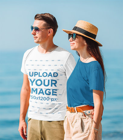 Basic T-Shirt Mockup of a Man With Sunglasses Wearing a Summer Outfit m2189-r-el2