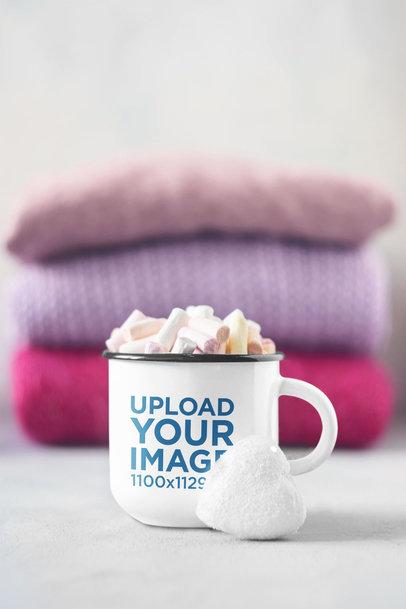Mockup of a Sublimated 12 oz Enamel Mug with Marshmallows m2226-r-el2