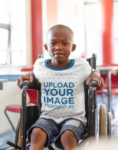 Ringer T-Shirt Mockup of a Kid Using a Wheelchair m2493-r-el2