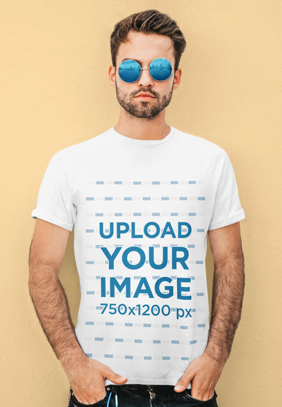 T-Shirt Mockup of a Bearded Man With Sunglasses Posing Against a Plain Backdrop m1679-r-el2