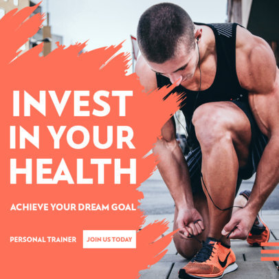 Fitness-Themed Instagram Post Design Template Featuring a Cool Layout 3616d-el1
