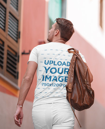 Back-View Tee Mockup of a Man Discovering a New City M2272-r-el2