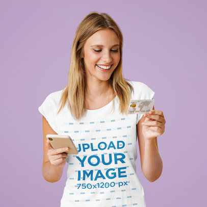 T-Shirt Mockup of a Happy Woman Doing Online Shopping m2393-r-el2