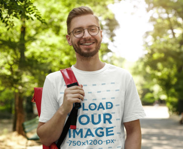 T-Shirt Mockup of a Happy Man with Glasses and Braces m1413r-el2