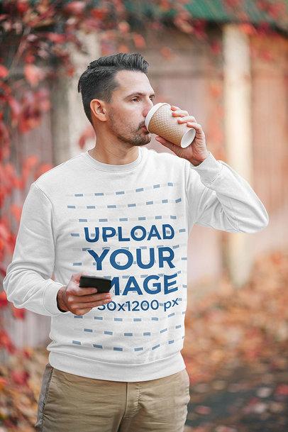 Sweatshirt Mockup of a Man Drinking Coffee m2283-r-el2