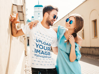 T-Shirt Mockup of a Bearded Man Hugging His Girlfriend on a Sunny Day M1681-r-el2