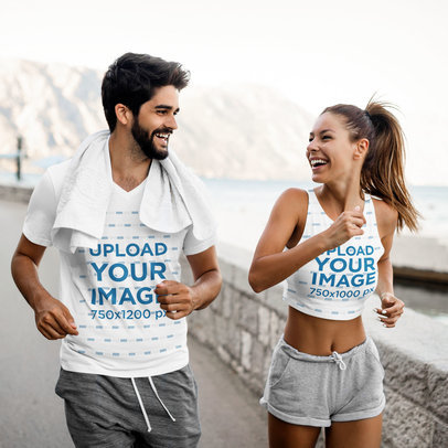 V-Neck T-Shirt and Crop Top Mockup of Two Friends Running 41084-r-el2