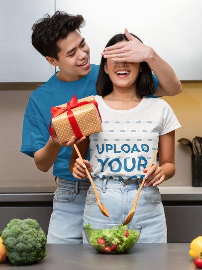 T-Shirt Mockup of a Woman Getting a Present From Her Boyfriend 44581-r-el2