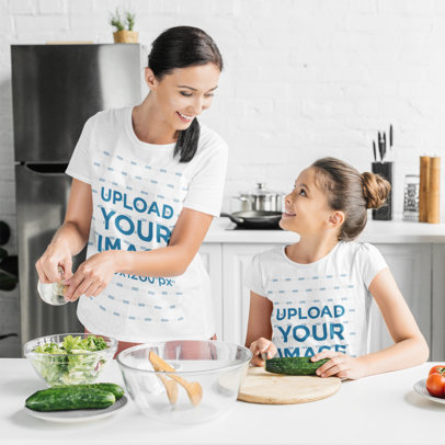 T-Shirt Mockup of a Mother and Daughter Making a Salad at Home m2531-r-el2