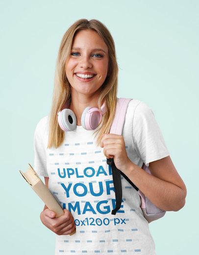 Basic T-Shirt Mockup of a Young Female Student at a Studio m1319-r-el2