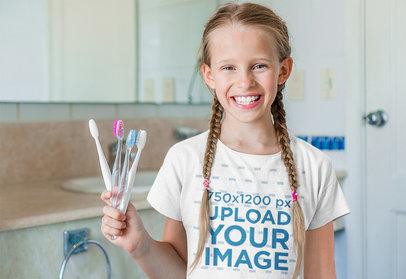 T-Shirt Mockup of a Girl Showcasing Her Clean Teeth M2275-r-el2