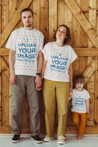 T-Shirt Mockup Featuring a Family of Three Posing Together m1600-r-el2