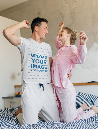 T-Shirt Mockup Featuring a Man in Pajamas with His Girlfriend m2552-r-el2