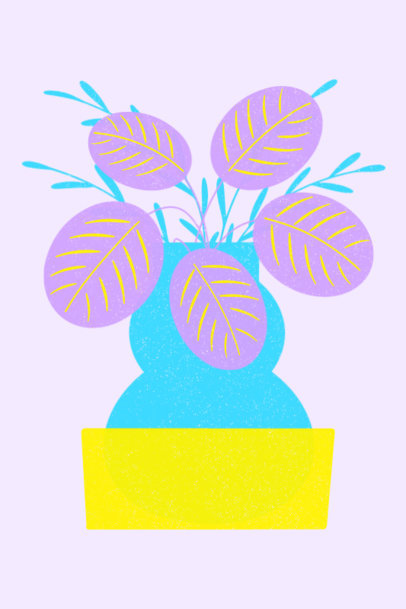Illustrated Art Print Generator Featuring a Pretty Plant 3459g