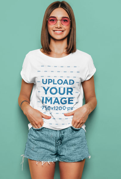 T-Shirt Mockup of a Young Woman Wearing Rose-Colored Glasses m1358-r-el2