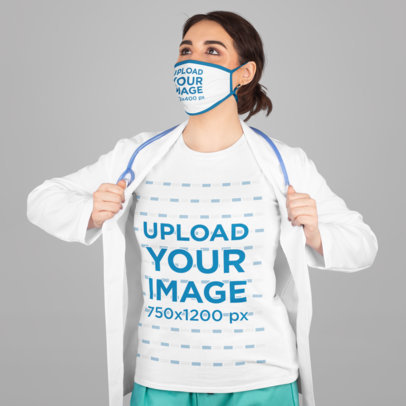 T-Shirt and Face Mask Mockup Featuring a Super Nurse in a Studio M219