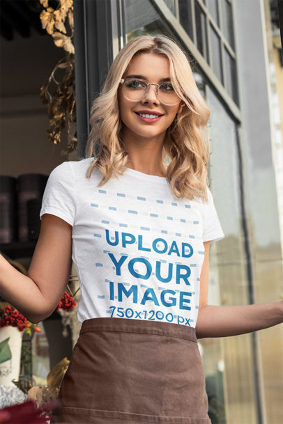 T-Shirt Mockup Featuring a Blonde Woman at Work m2528-r-el2