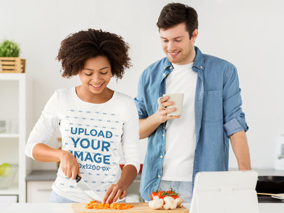 Long Sleeve Tee Mockup of a Woman Cooking with Her Boyfriend 40218-r-el2