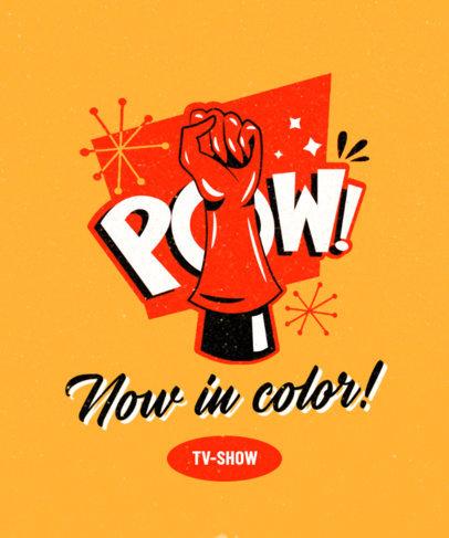 Retro T-Shirt Design Creator Featuring a Superhero Punch 3467e