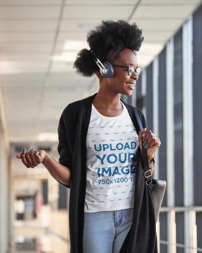 T-Shirt Mockup of a Happy Woman with Headphones m2308-r-el2