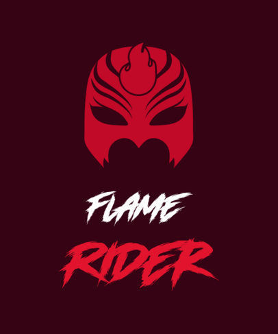 Illustrated T-Shirt Design Template Featuring a Flame Villain Mask 3464h