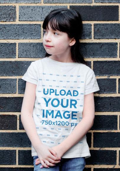 Basic T-Shirt Mockup of a Long-Haired Girl Against a Dark Brick Wall 40904r-el2