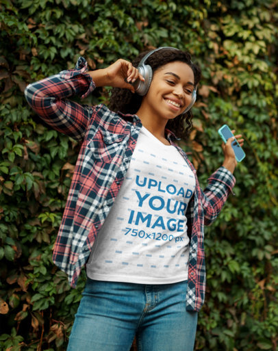 Heather T-Shirt Mockup of a Happy Woman Listening to Music m2714-r-el2