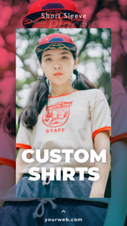 Instagram Story Video Template for a Custom T-Shirt Store Ad 853a-2895-el1